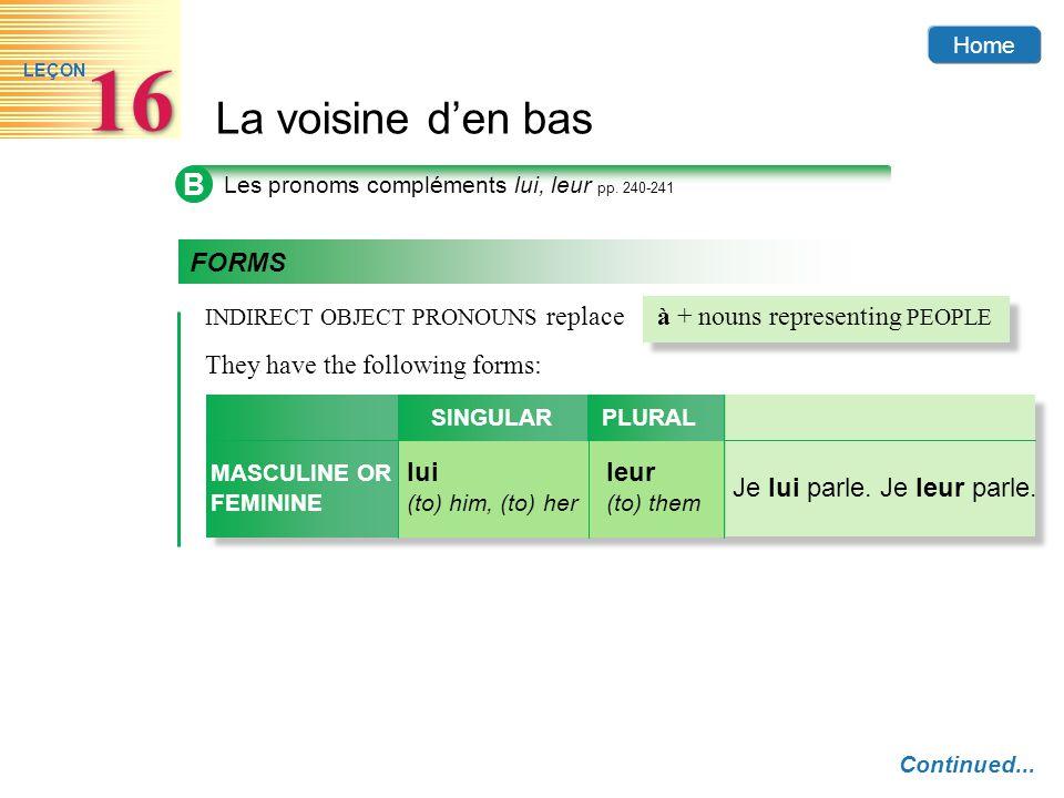 Home La voisine den bas 16 LEÇON B Les pronoms compléments lui, leur pp. 240-241 Continued... INDIRECT OBJECT PRONOUNS replaceà + nouns representing P