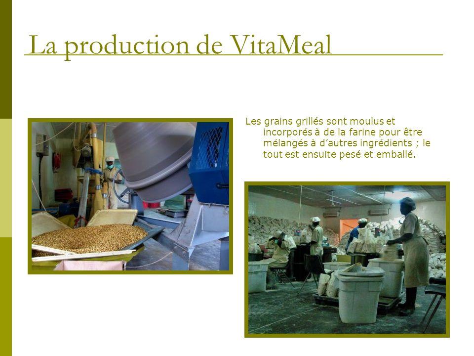 Les grains grillés sont moulus et incorporés à de la farine pour être mélangés à dautres ingrédients ; le tout est ensuite pesé et emballé. La product