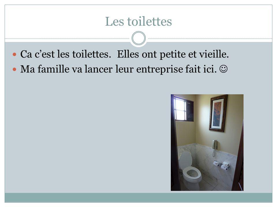 Les toilettes Ca cest les toilettes. Elles ont petite et vieille. Ma famille va lancer leur entreprise fait ici.