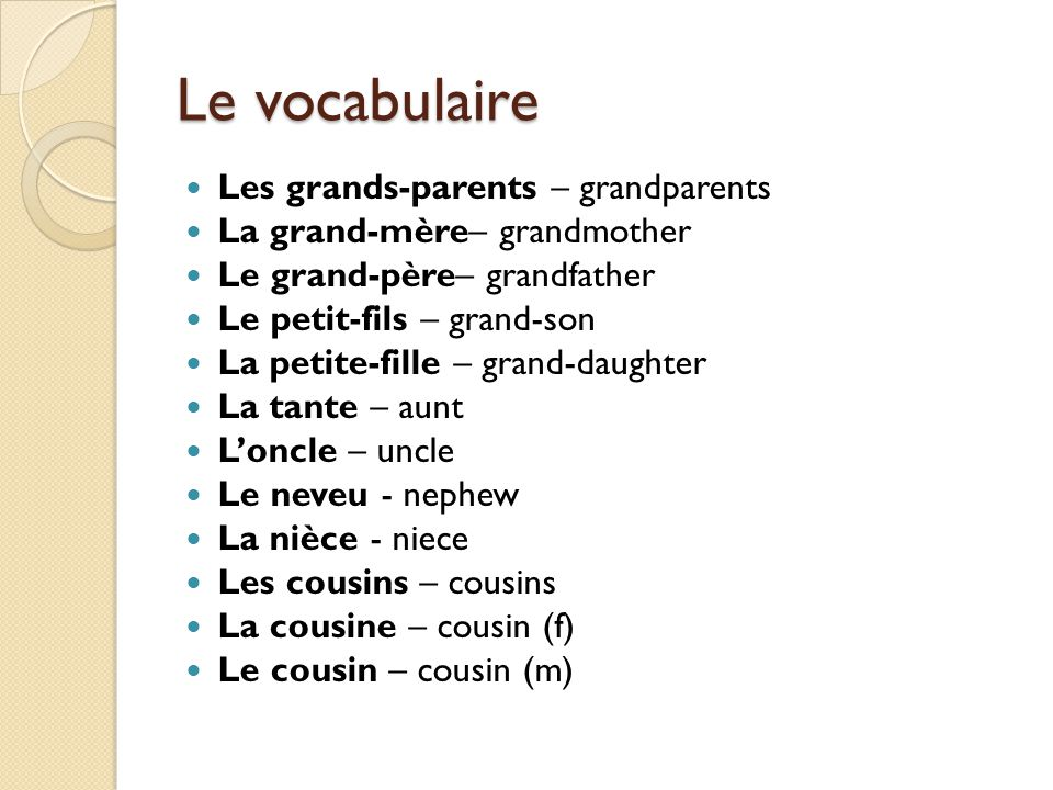 Le vocabulaire Les grands-parents – grandparents La grand-mère– grandmother Le grand-père– grandfather Le petit-fils – grand-son La petite-fille – gra