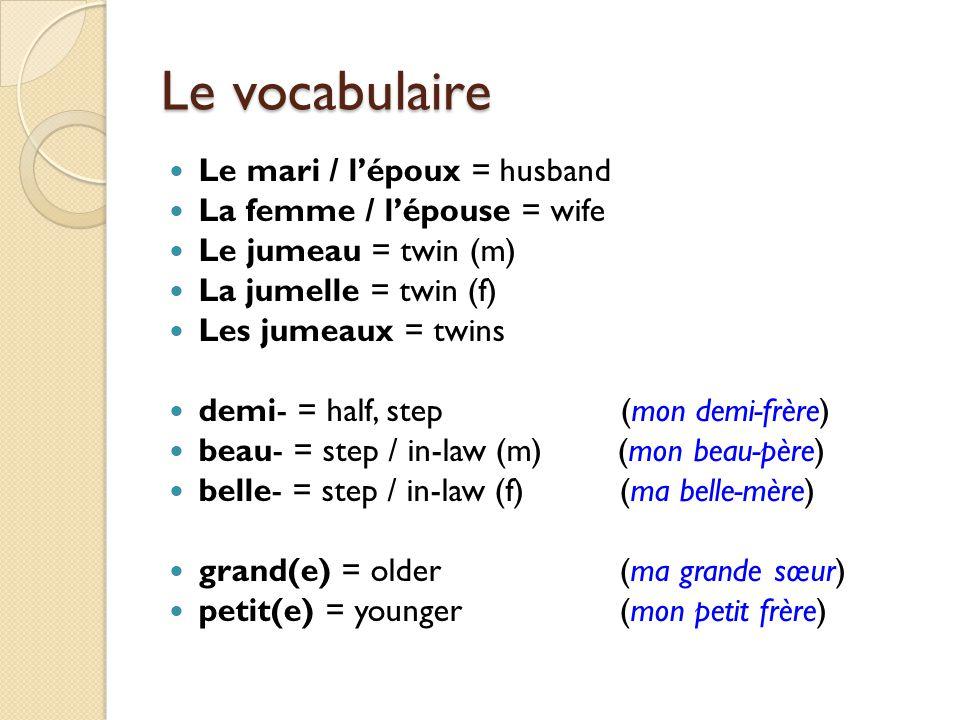 Le vocabulaire Le mari / lépoux = husband La femme / lépouse = wife Le jumeau = twin (m) La jumelle = twin (f) Les jumeaux = twins demi- = half, step
