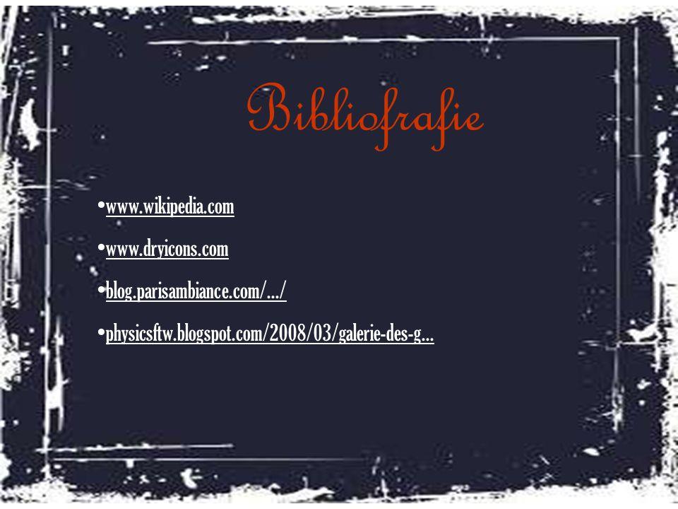Bibliofrafie www.wikipedia.com www.dryicons.com blog.parisambiance.com/.../ physicsftw.blogspot.com/2008/03/galerie-des-g...