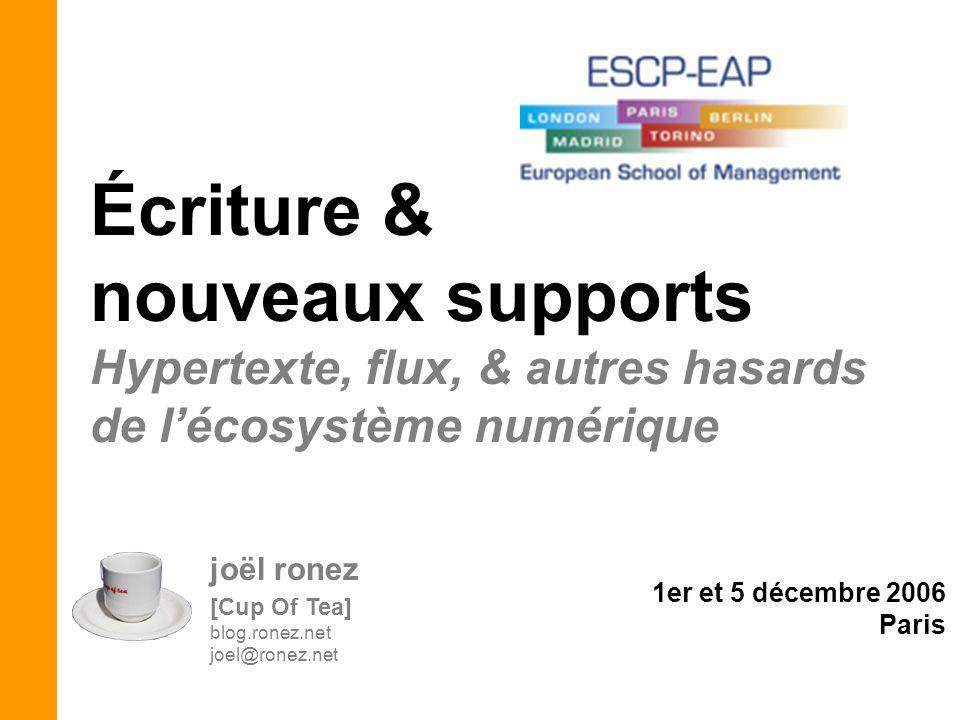joël ronez [Cup Of Tea] blog.ronez.net joel@ronez.net Écriture & nouveaux supports Hypertexte, flux, & autres hasards de lécosystème numérique 1er et 5 décembre 2006 Paris