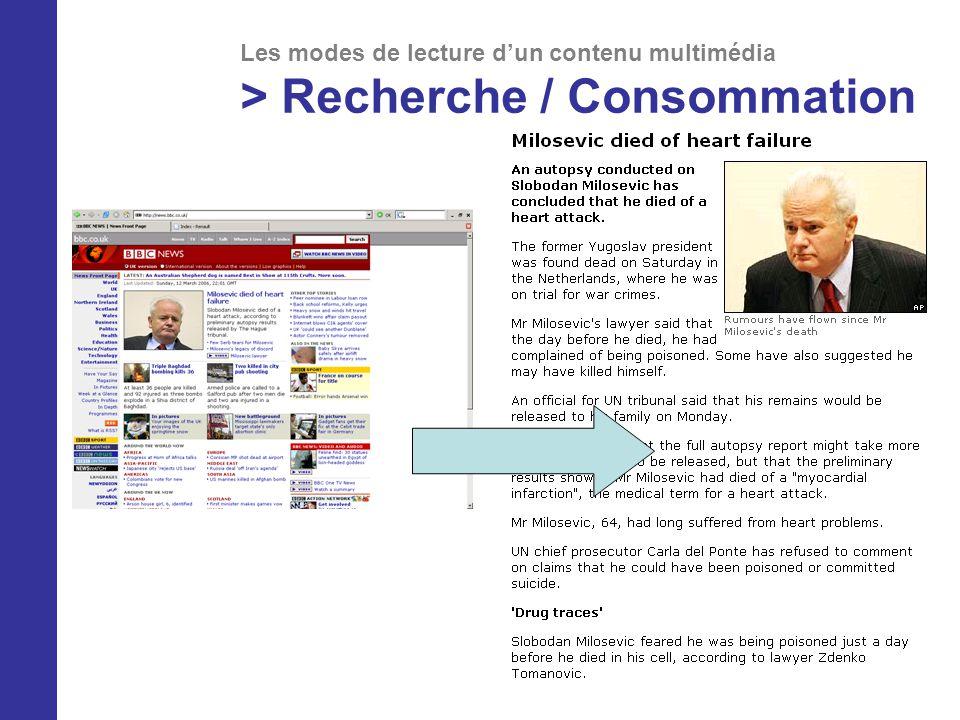 Les modes de lecture dun contenu multimédia > Recherche / Consommation
