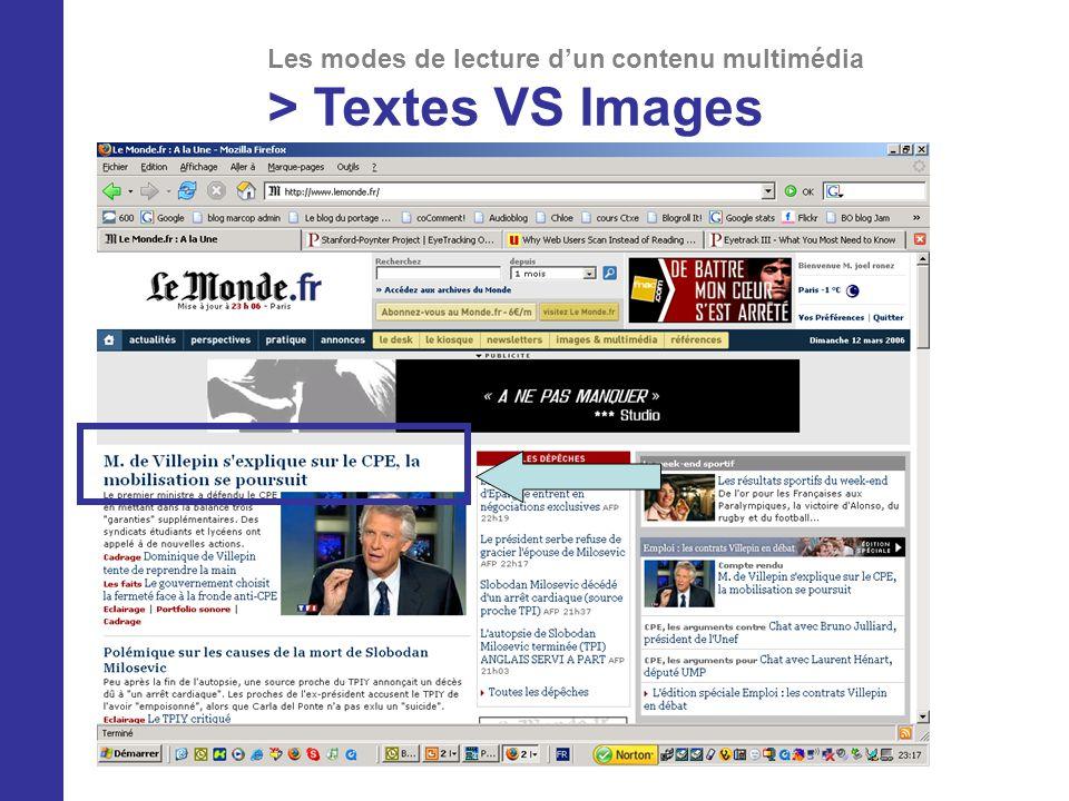 Les modes de lecture dun contenu multimédia > Textes VS Images