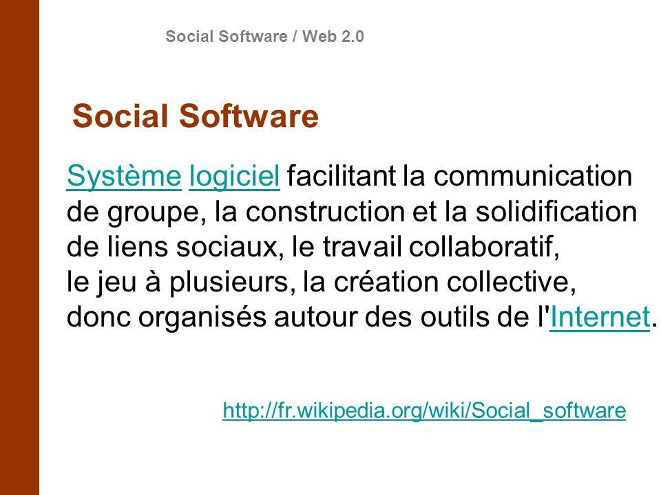 SystèmeSystème logiciel facilitant la communicationlogiciel de groupe, la construction et la solidification de liens sociaux, le travail collaboratif, le jeu à plusieurs, la création collective, donc organisés autour des outils de l Internet.Internet http://fr.wikipedia.org/wiki/Social_software Social Software / Web 2.0 Social Software