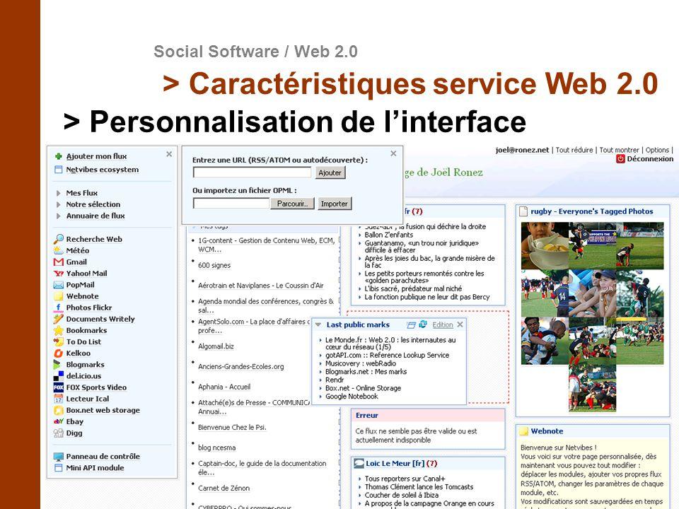 Social Software / Web 2.0 > Caractéristiques service Web 2.0 > Personnalisation de linterface