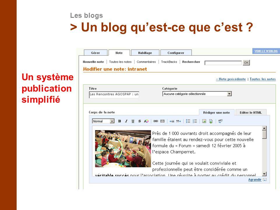 > Un blog quest-ce que cest ? Un système de publication simplifié Les blogs
