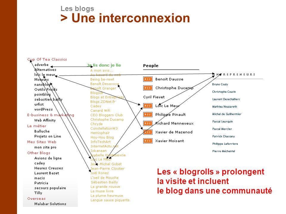 Les « blogrolls » prolongent la visite et incluent le blog dans une communauté > Une interconnexion Les blogs