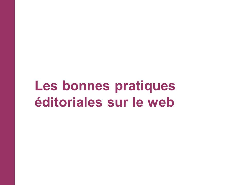 Les bonnes pratiques éditoriales sur le web