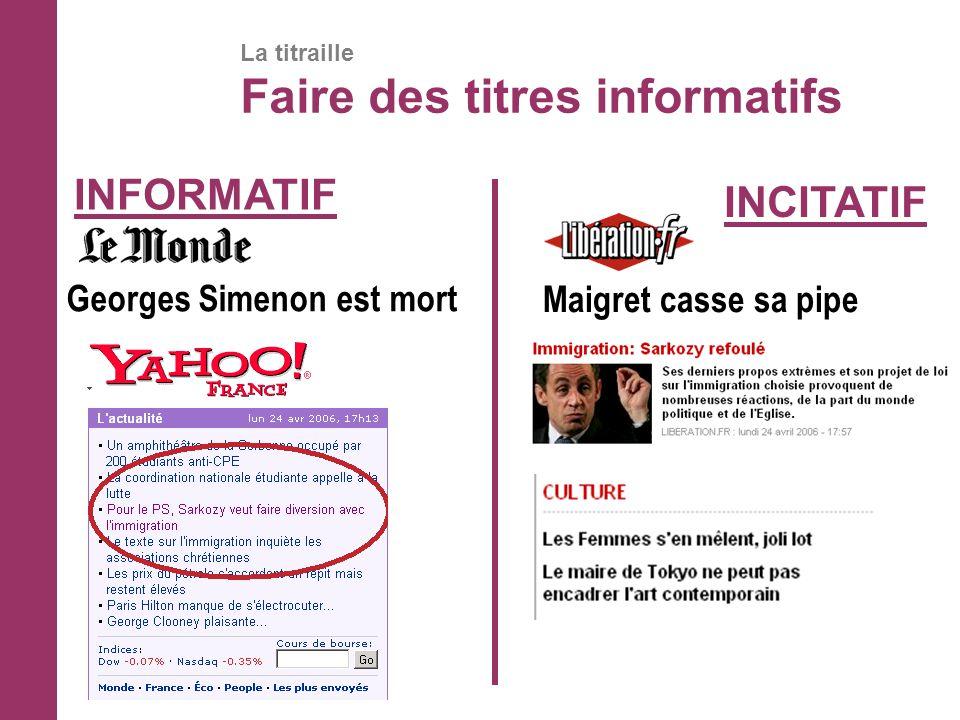 La titraille Faire des titres informatifs Georges Simenon est mort Maigret casse sa pipe INFORMATIF INCITATIF
