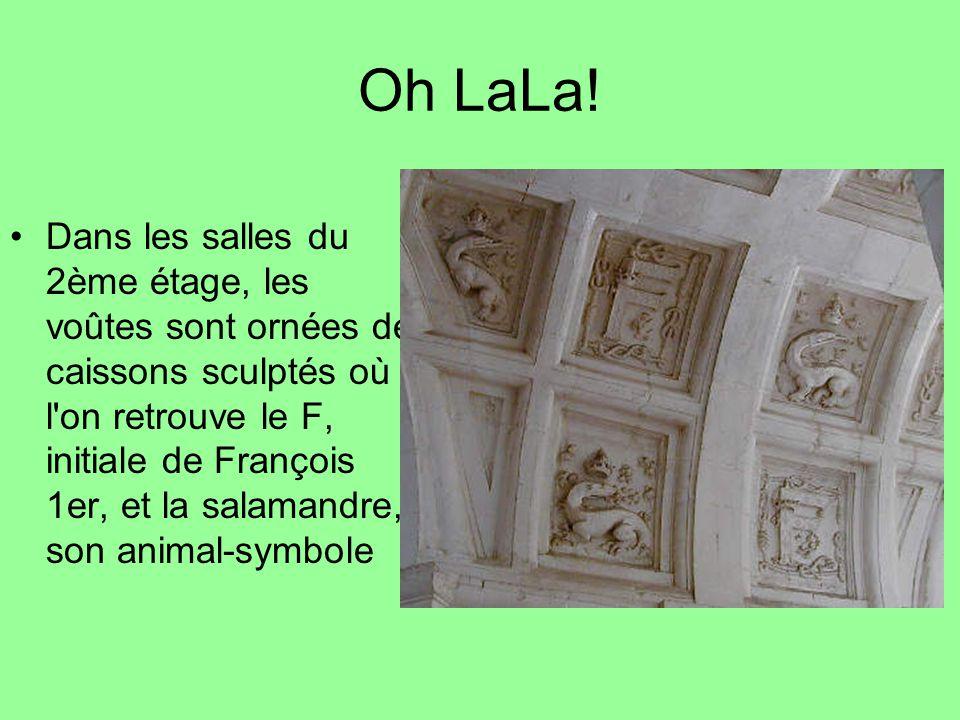 Oh LaLa! Dans les salles du 2ème étage, les voûtes sont ornées de caissons sculptés où l'on retrouve le F, initiale de François 1er, et la salamandre,