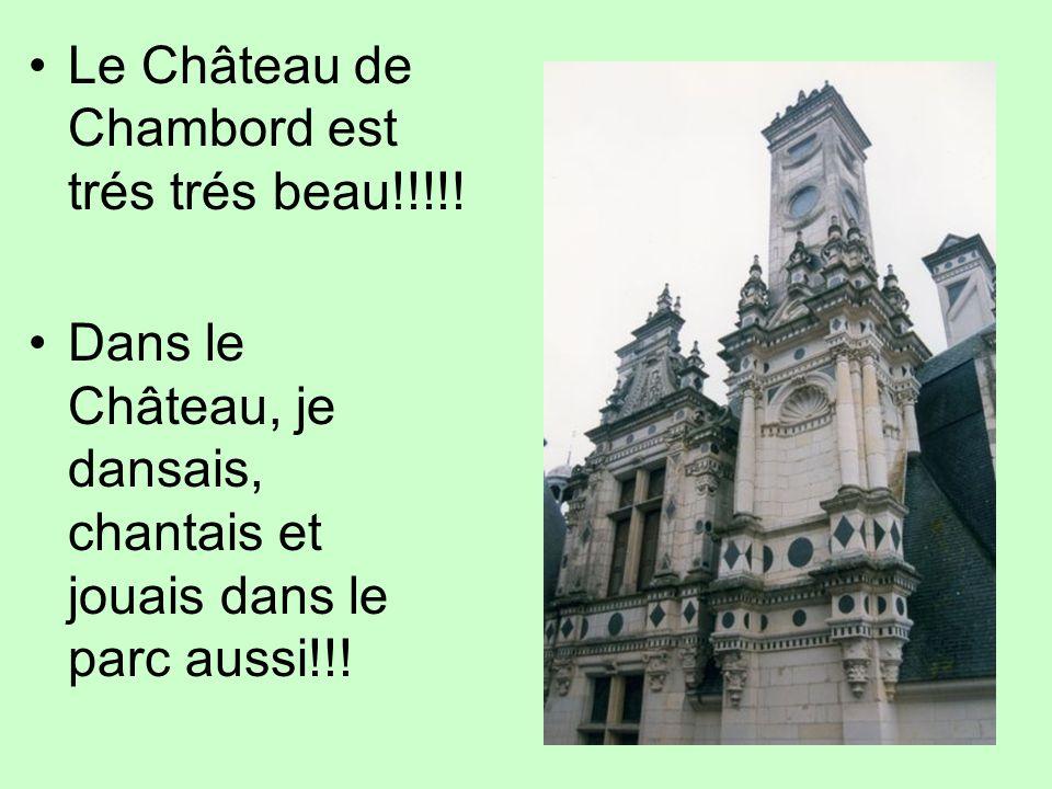 Le Château de Chambord est trés trés beau!!!!! Dans le Château, je dansais, chantais et jouais dans le parc aussi!!!