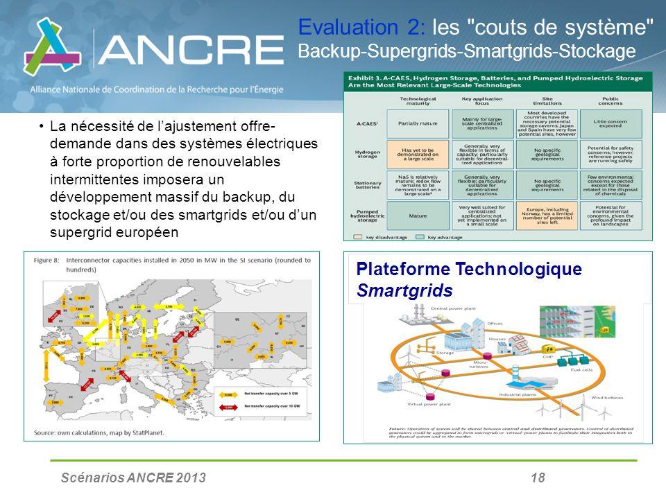 Scénarios ANCRE 2013 18 Evaluation 2: les