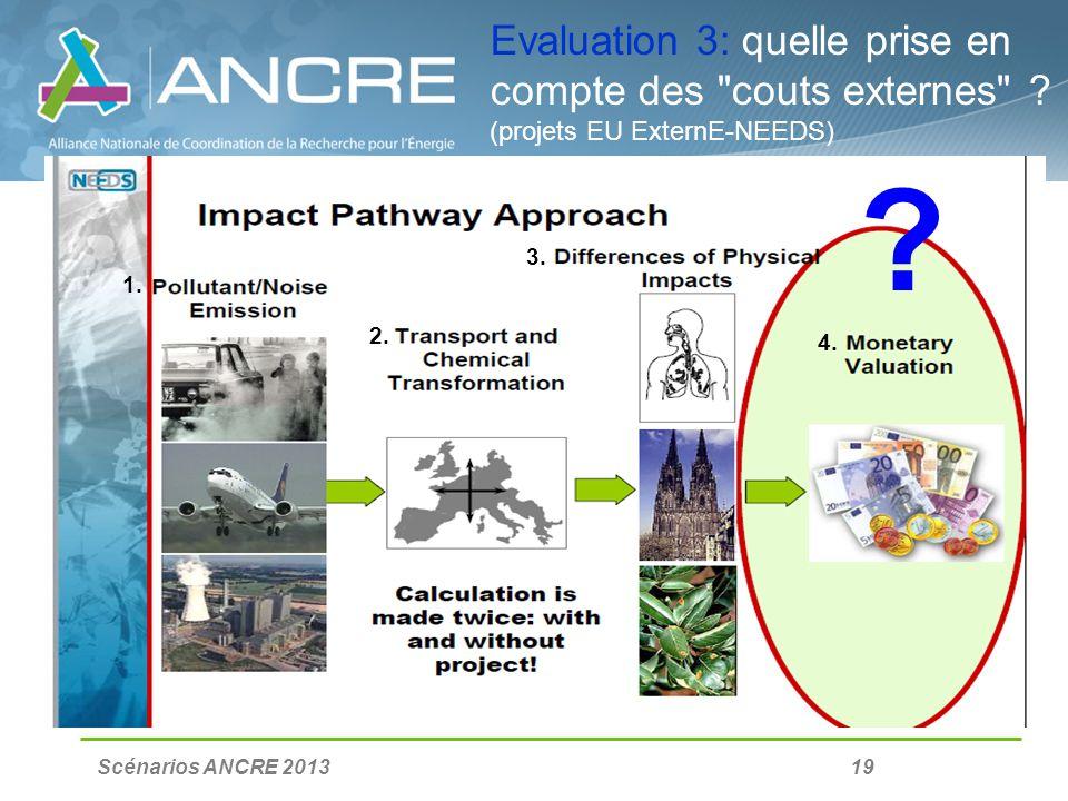 Scénarios ANCRE 2013 19 Evaluation 3: quelle prise en compte des couts externes .
