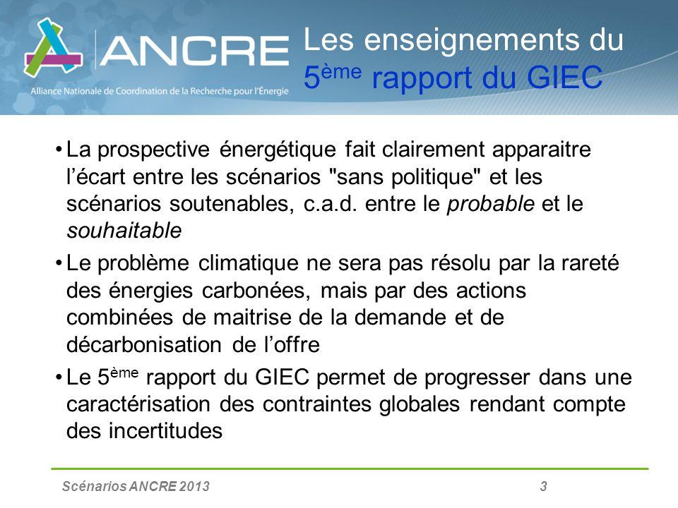Scénarios ANCRE 2013 3 Les enseignements du 5 ème rapport du GIEC La prospective énergétique fait clairement apparaitre lécart entre les scénarios sans politique et les scénarios soutenables, c.a.d.
