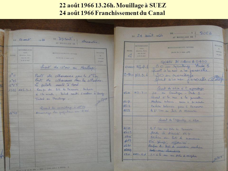 19 août 1966 à 12.10h. Appareillage pour ALEXANDRIE