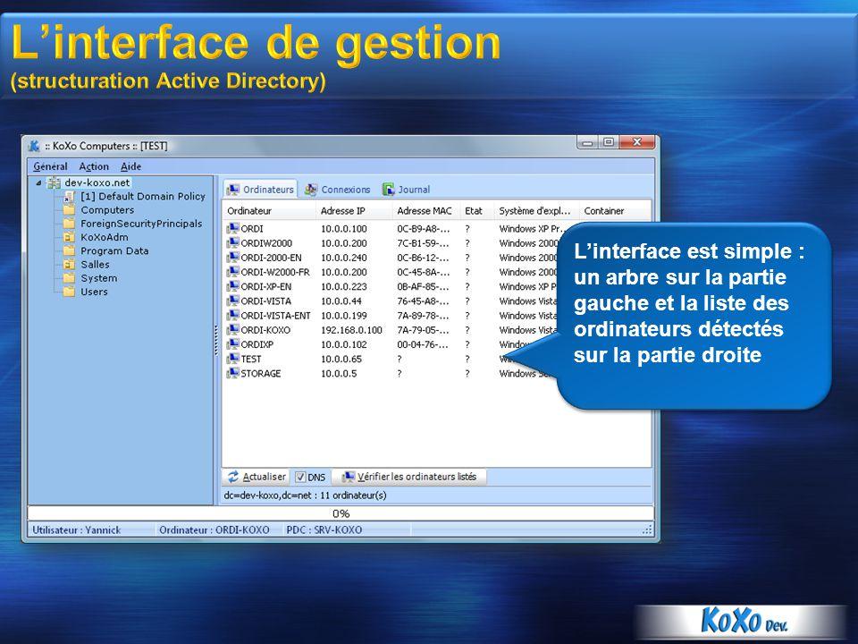 Linterface est simple : un arbre sur la partie gauche et la liste des ordinateurs détectés sur la partie droite