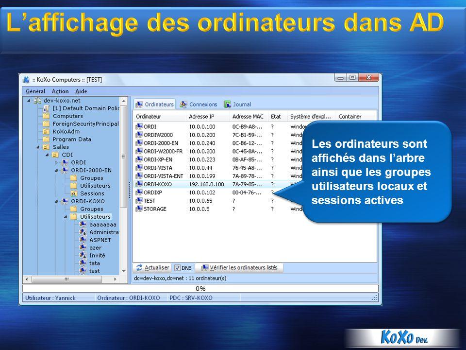 Les ordinateurs sont affichés dans larbre ainsi que les groupes utilisateurs locaux et sessions actives