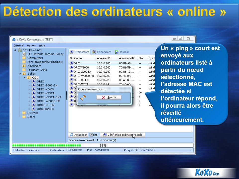 Un « ping » court est envoyé aux ordinateurs listé à partir du nœud sélectionné, ladresse MAC est détectée si lordinateur répond, il pourra alors être réveillé ultérieurement.