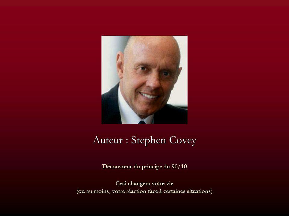 Auteur : Stephen Covey Découvreur du principe du 90/10 Ceci changera votre vie (ou au moins, votre réaction face à certaines situations)