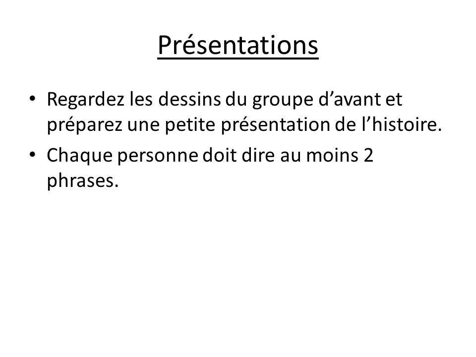 Présentations Regardez les dessins du groupe davant et préparez une petite présentation de lhistoire.