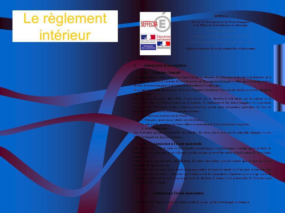 Le règlement intérieur