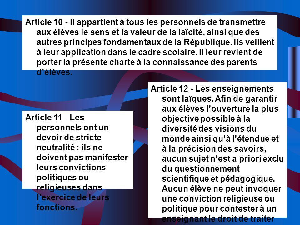 Article 11 Les personnels ont un devoir de stricte neutralité : ils ne doivent pas manifester leurs convictions politiques ou religieuses dans lexerci