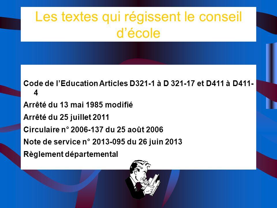 Les textes qui régissent le conseil décole Code de lEducation Articles D321-1 à D 321-17 et D411 à D411- 4 Arrêté du 13 mai 1985 modifié Arrêté du 25