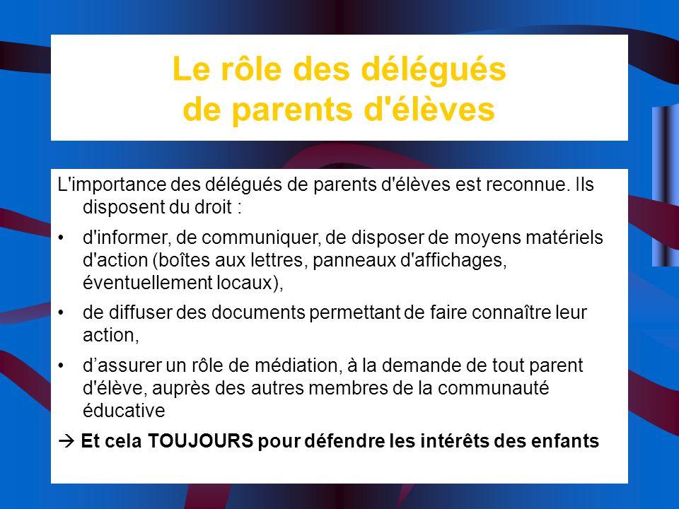 Le rôle des délégués de parents d'élèves L'importance des délégués de parents d'élèves est reconnue. Ils disposent du droit : d'informer, de communiqu