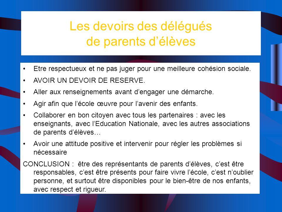 Les devoirs des délégués de parents délèves Etre respectueux et ne pas juger pour une meilleure cohésion sociale. AVOIR UN DEVOIR DE RESERVE. Aller au