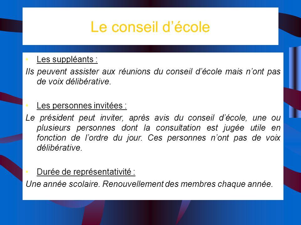 Le conseil décole Les suppléants : Ils peuvent assister aux réunions du conseil décole mais nont pas de voix délibérative.