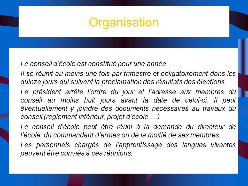 Organisation Le conseil décole est constitué pour une année. Il se réunit au moins une fois par trimestre et obligatoirement dans les quinze jours qui