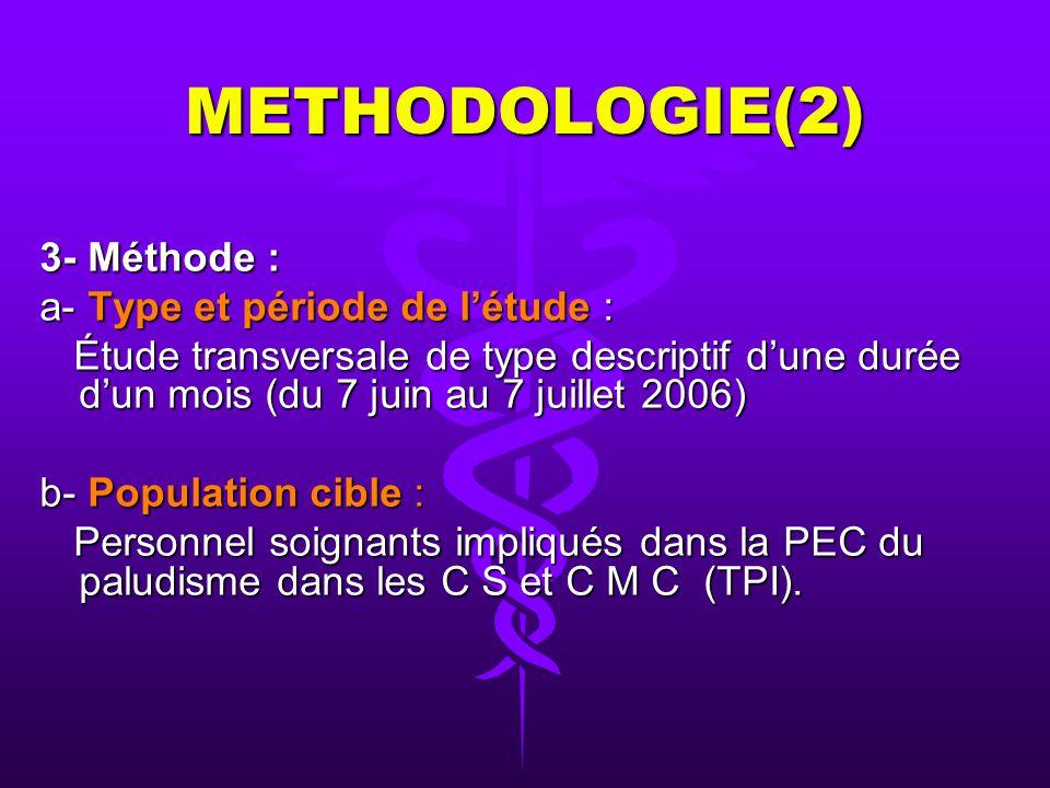 METHODOLOGIE(1) 1- Cadre de létude : Étude multicentrique portant sur 3 C S et 2 C M C dans la ville de Conakry. 2- Matériel : Létude a porté sur les