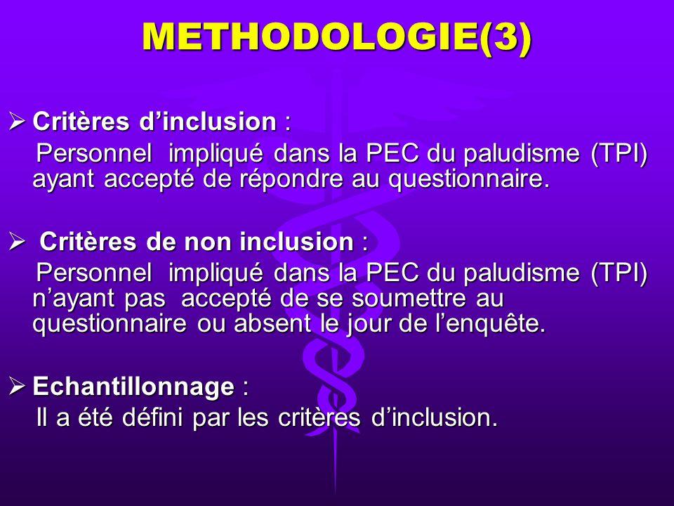 METHODOLOGIE(2) 3- Méthode : a- Type et période de létude : Étude transversale de type descriptif dune durée dun mois (du 7 juin au 7 juillet 2006) Ét