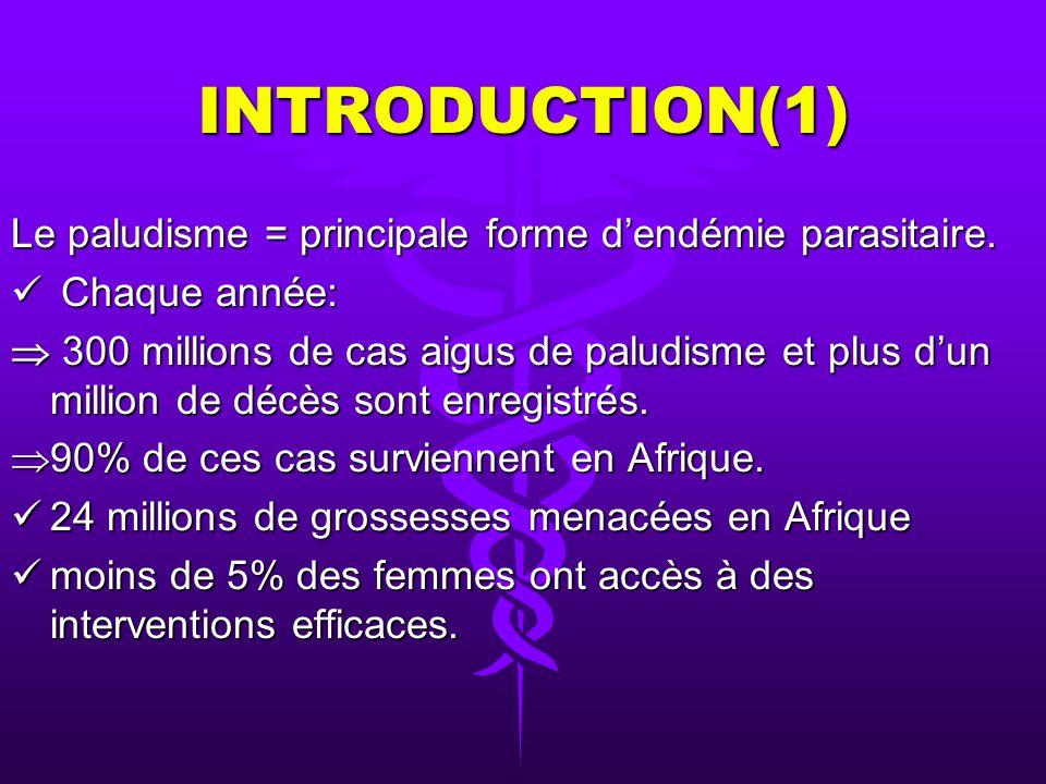 INTRODUCTION(1) Le paludisme = principale forme dendémie parasitaire.