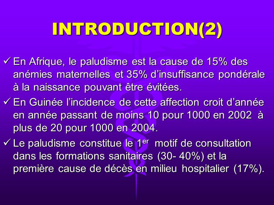 INTRODUCTION(2) En Afrique, le paludisme est la cause de 15% des anémies maternelles et 35% dinsuffisance pondérale à la naissance pouvant être évitées.