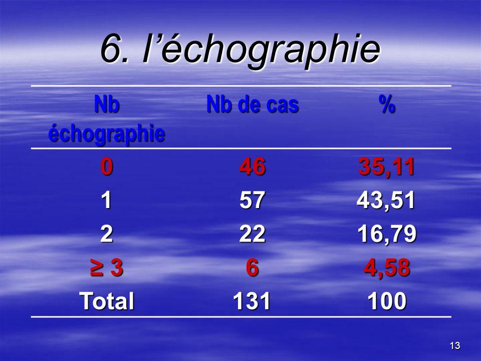 13 6. léchographie Nb échographie Nb de cas % 04635,11 15743,51 22216,79 364,58 Total131100