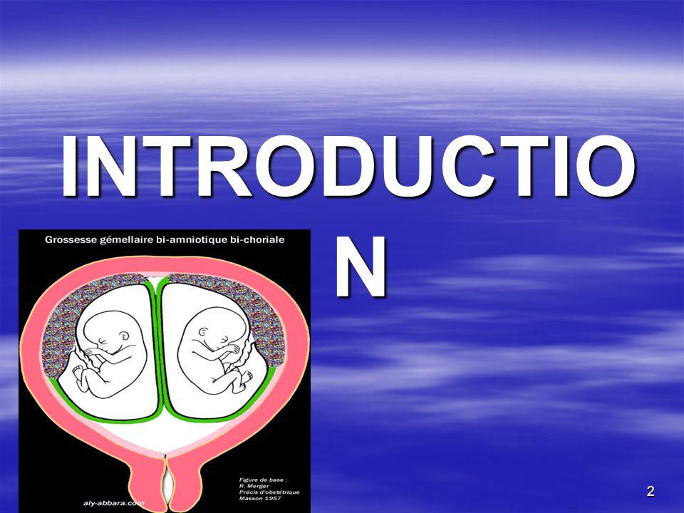 3 La grossesse gémellaire est une grossesse à haut risque, La grossesse gémellaire est une grossesse à haut risque, Elle représente environ 1% des grossesses dans la littérature et contribue disproportionnellement à la mortalité périnatale, Elle représente environ 1% des grossesses dans la littérature et contribue disproportionnellement à la mortalité périnatale, Doù la nécessité dun diagnostic précoce et dun suivi étroit de son début jusquà laccouchement, Doù la nécessité dun diagnostic précoce et dun suivi étroit de son début jusquà laccouchement, Elle pose un réel problème obstétrical dans nos pays en développement.