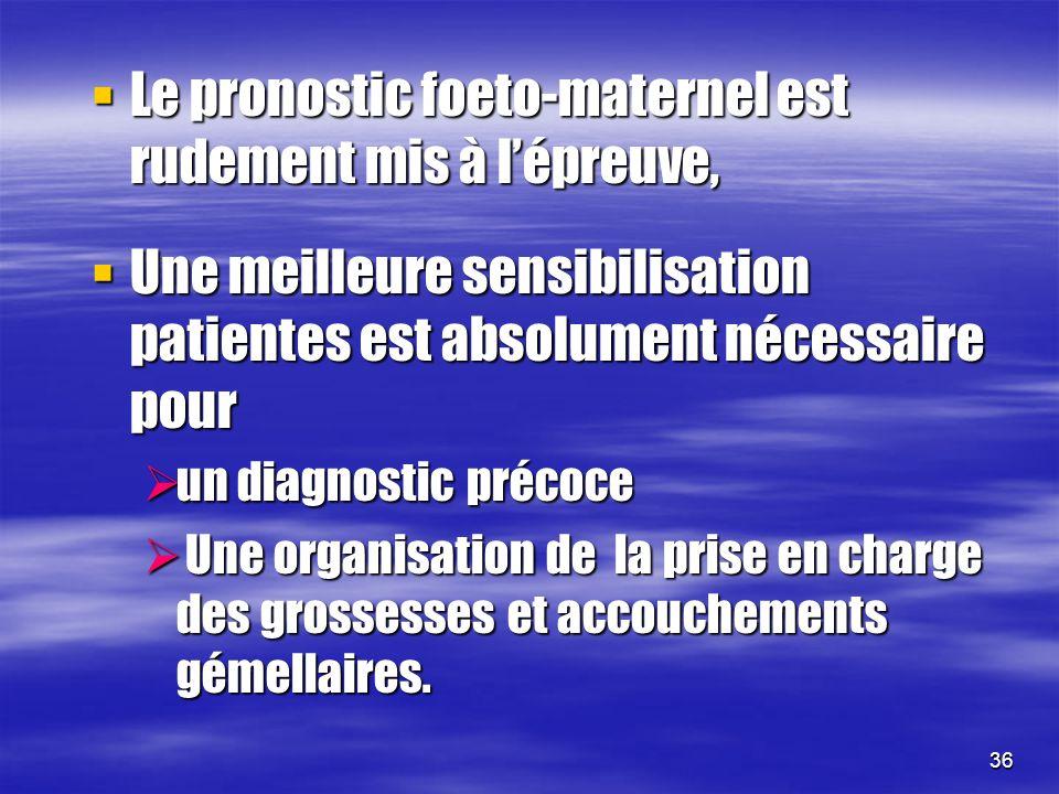 36 Le pronostic foeto-maternel est rudement mis à lépreuve, Le pronostic foeto-maternel est rudement mis à lépreuve, Une meilleure sensibilisation pat