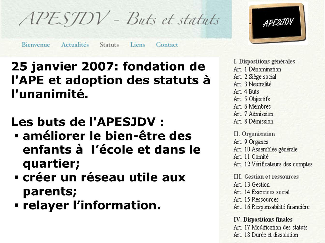 25 janvier 2007: fondation de l APE et adoption des statuts à l unanimité.