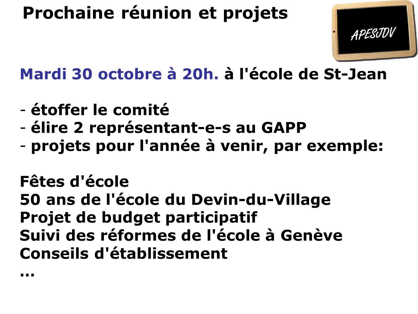 Prochaine réunion et projets Mardi 30 octobre à 20h.