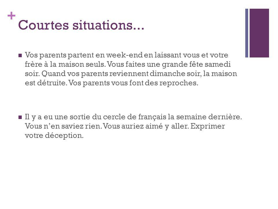+ Courtes situations...