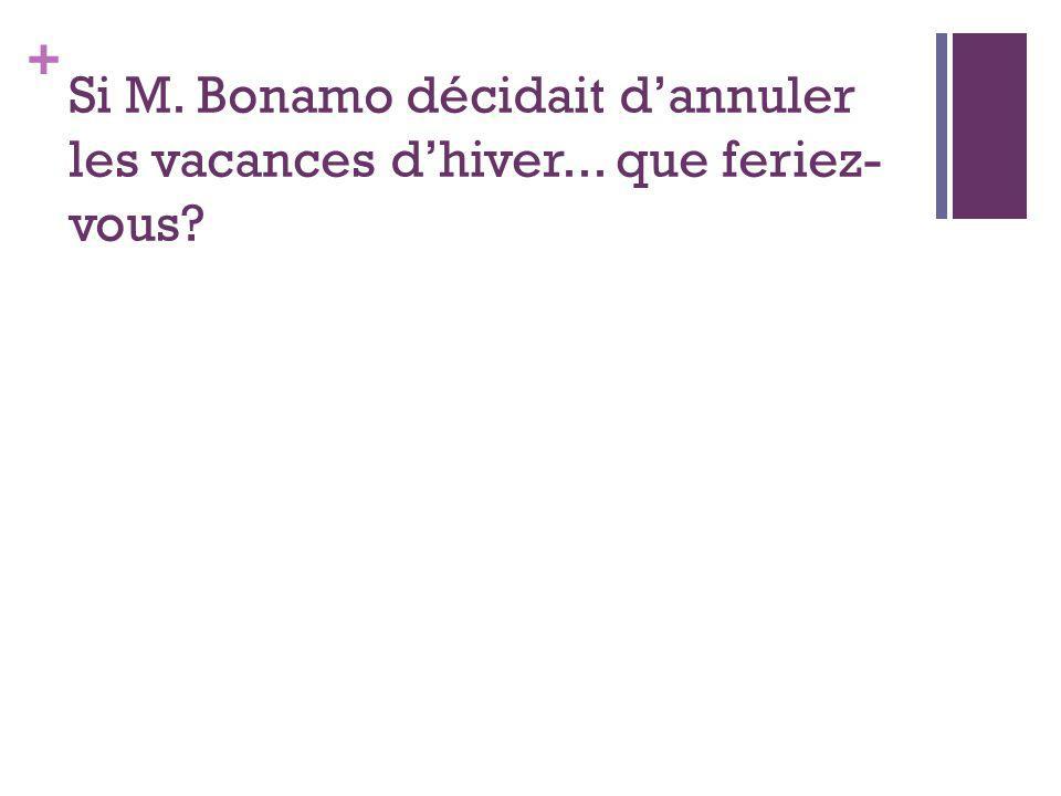 + Si M. Bonamo décidait dannuler les vacances dhiver... que feriez- vous?