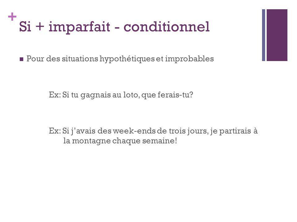 + Si + imparfait - conditionnel Pour des situations hypothétiques et improbables Ex: Si tu gagnais au loto, que ferais-tu? Ex: Si javais des week-ends
