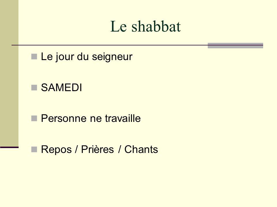 Le shabbat Le jour du seigneur SAMEDI Personne ne travaille Repos / Prières / Chants