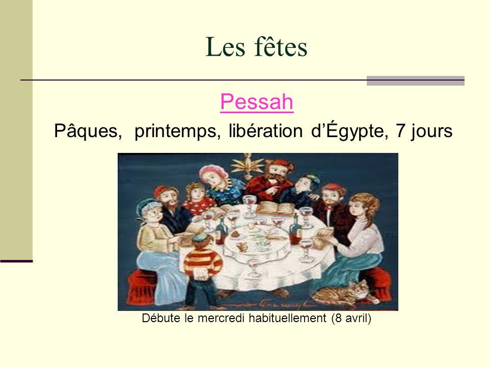 Les fêtes Pessah Pâques, printemps, libération dÉgypte, 7 jours Débute le mercredi habituellement (8 avril)