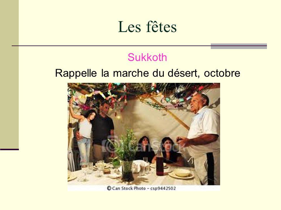 Les fêtes Sukkoth Rappelle la marche du désert, octobre