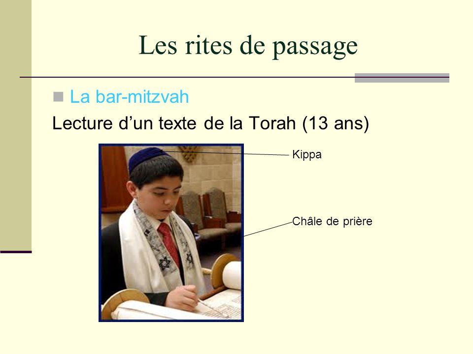 Les rites de passage La bar-mitzvah Lecture dun texte de la Torah (13 ans) Kippa Châle de prière