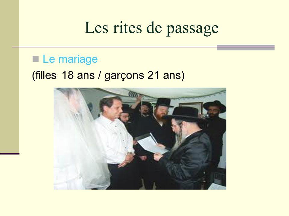 Les rites de passage Le mariage (filles 18 ans / garçons 21 ans)